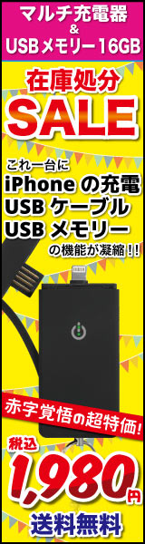 iPhone6/5用 Power&Cable&Memory 3in1 マルチ充電器&USBメモリー 16GB KR1000