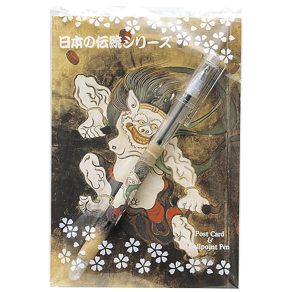 セーラー万年筆 浮世絵ボールペン&ポストカードセット<br>風神雷神図屏風・雷神
