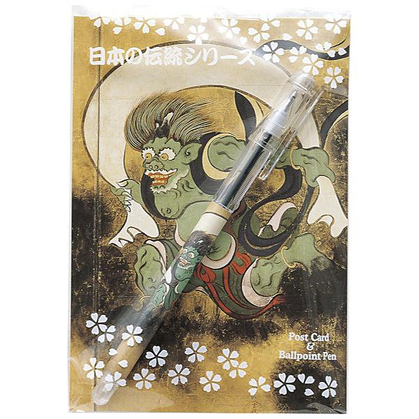 セーラー万年筆 浮世絵ボールペン&ポストカードセット <br>風神雷神図屏風・風神