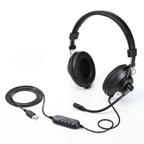 サンワサプライ USB ヘッドセット ブラック MM-HSU01BK (sb) 【送料無料】