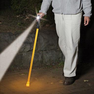 クマザキエイム ソーラー充電式LEDライト安全杖 照らステッキ  SL-1121(sb)【送料無料】